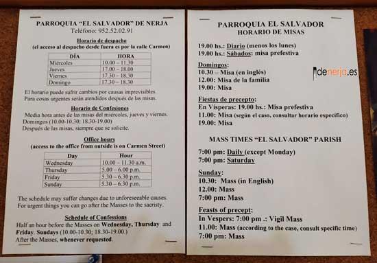 Horarios de Misa Iglesia Parroquia de El Salvador de Nerja